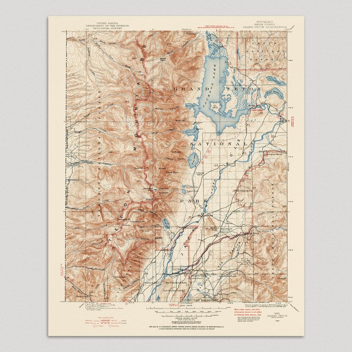 Grand Teton National Park Map Art Print 1899 Old Antique Map | Etsy