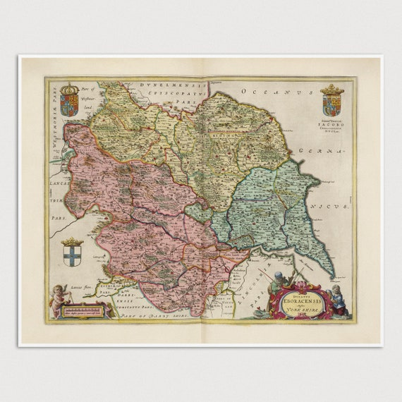 Antique Yorkshire Map Art Print England 1665 Archival Etsy