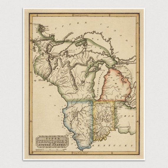 Michigan And Wisconsin Map.Indiana Map Illinois Map Michigan Map Wisconsin Map Etsy
