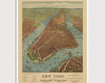 Old New York City Map Art Print 1879 Manhattan Antique Map Archival Reproduction