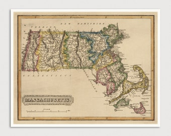 Massachusetts Map, Antique Map Art Print, 1817, Archival Reproduction