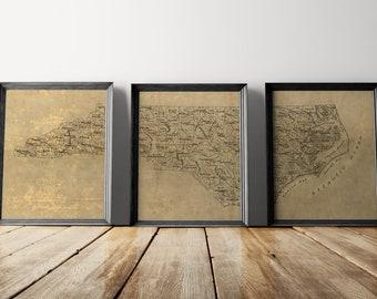 Old North Carolina Map Art Print Set, 1893, Antique Map Archival Reproduction, Set of 3 Prints, Unframed