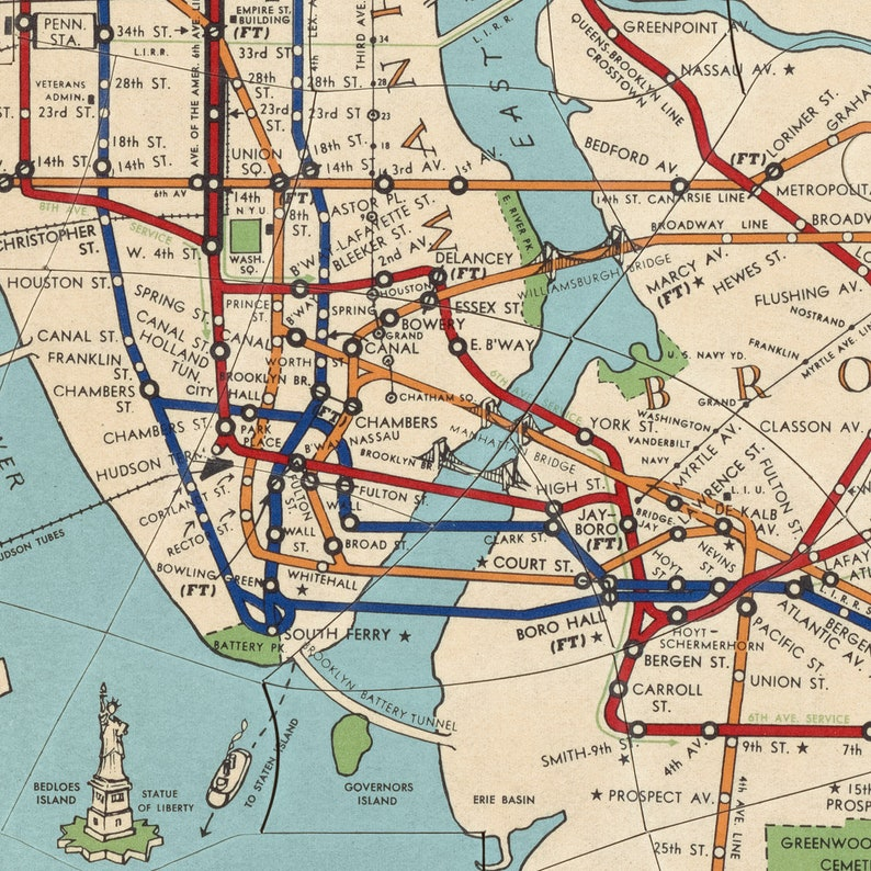 Old Ny Subway Map.Old New York Subway Map Art Print 1954 Antique Map Archival Reproduction
