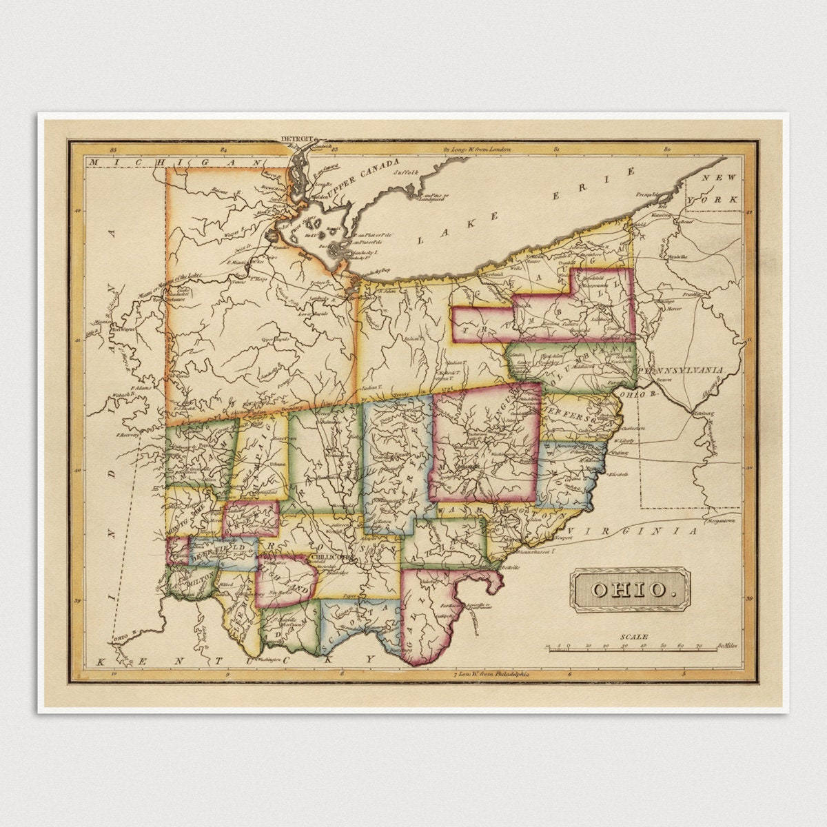 New London Ohio Map.Ohio Map Antique Map Art Print 1817 Archival Reproduction Etsy