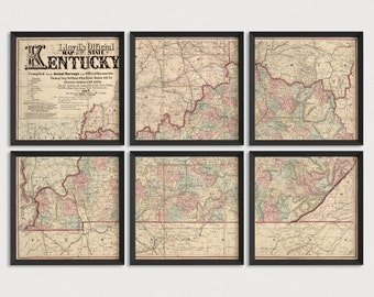 Kentucky Map, Antique Map Art Print Set, 1862, Archival Reproduction, Set of 6 or 8 Prints