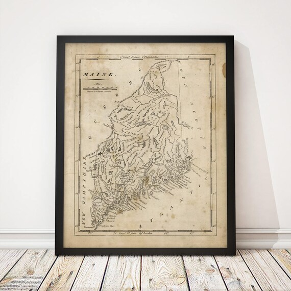 Maine Map Antique Map Art Print Archival Reproduction Etsy - Antique map of maine
