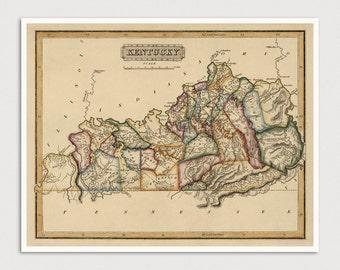 Kentucky Map, Antique Map Art Print, 1817, Archival Reproduction