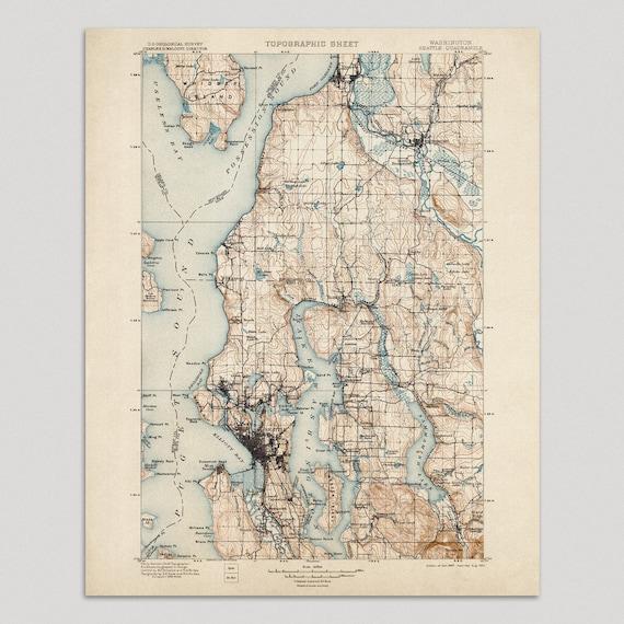 Seattle Map Art Print 1897 Antique Map Archival Etsy
