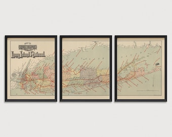 Old Long Island Map Art Print Set, 1895, Set of 3 Prints, Antique Map, Railroad Map, Archival Reproduction, Unframed