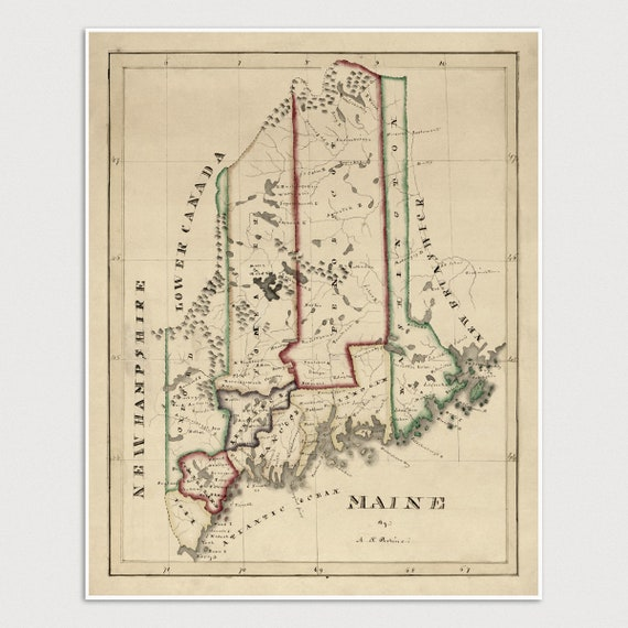 Old Maine Map.Old Maine Map Art Print 1820 Antique Map Archival Etsy