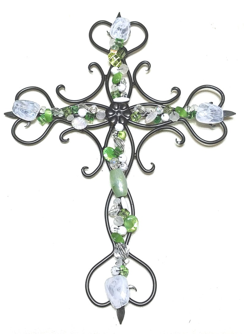 Wall Cross Decor Wall Cross Beaded Cross Wrought Iron Etsy