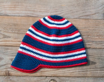 Crochet boys summer hat, Baby Boy Crochet Hats, Nautical summer kids hat, Sailor hat - Ready to ship!