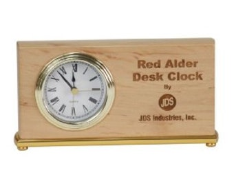 Personalized 4 x 7 1/2 Red Alder Horizontal Desk Clock - BRAND NEW