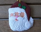 Santa Face Ornament - Hand Painted Plaster