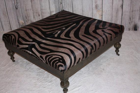 Pleasing Rustic Dark Walnut Zebra Print Cowhide Ottoman Machost Co Dining Chair Design Ideas Machostcouk