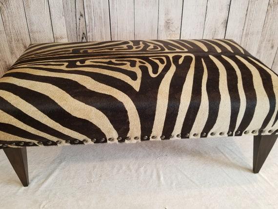 Astonishing Black And Beige Zebra Print Cowhide Ottoman Machost Co Dining Chair Design Ideas Machostcouk
