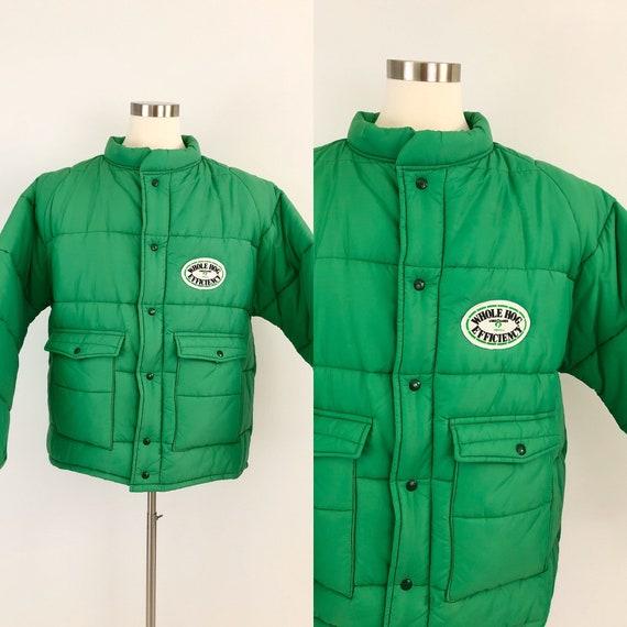 80s Vintage Mens XXL Puffer Coat Kelly Green Farm