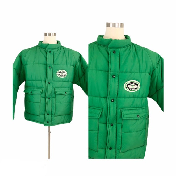 80s Vintage Mens XXL Puffer Coat Kelly Green Farm