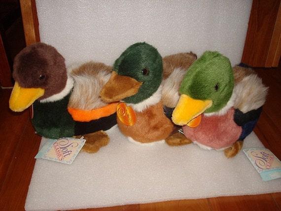 Three Different Soft Classic Mallard Duck Stuffed Animals Sold Etsy