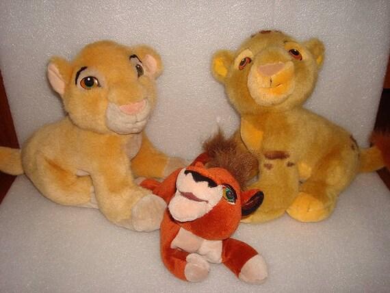 Three Vintage Disney Lion King Stuffed Animals Simba Nala Etsy