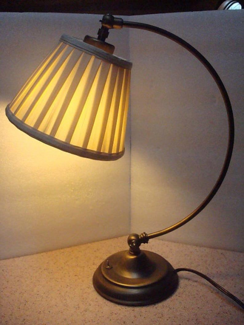 Vintage Hook Style Bronze Plug In Desk Lamp  Table Lamp