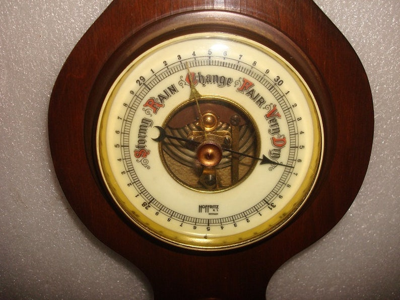 Barometer Wood And Brass Weather Station Wall Hanging Vintage Hoffritz NY Germany Thermometer