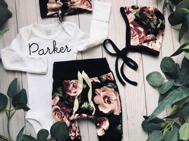 Little Sister Newborn Take Home Outfit  Newborn Girl coming Home Outfit  Newborn Baby Bonnet  Floral Baby Bonnet Personalized Newborn Set