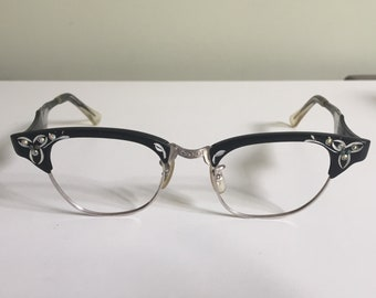 1ce6397c63 Vintage Black Cat Eye Eyeglasses Embellished Genuine 12 Carat Gold Filled  Glasses 1960 s Women s Cat Eye Eyeglasses Black And Silver Glasses