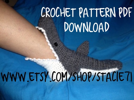 Pattern For Crocheted Shark Socks Baby Child And Adult