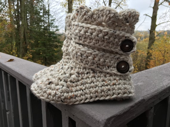 4ebf1a450 Crocheted Chunky Strapped Slipper Boots | Etsy