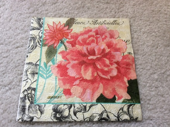 Vintage floral paper napkins for decoupage crafting etsy image 0 mightylinksfo