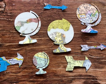 Map paper globes and arrows cut outs confetti