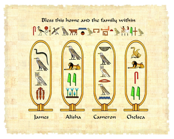 Egyptian Hieroglyphic Print Cartouches Personalized With 4