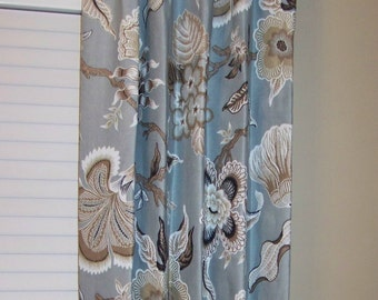 """Schumacher Hothouse Flowers - Drapery Panels up to 84"""" Lined and Interlined"""