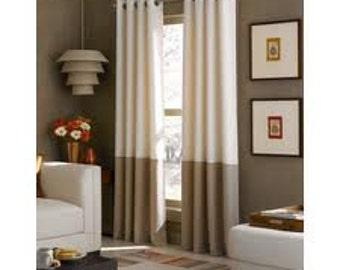 Custom Linen Color Blocked Striped Drapery Panels - You Choose Colors