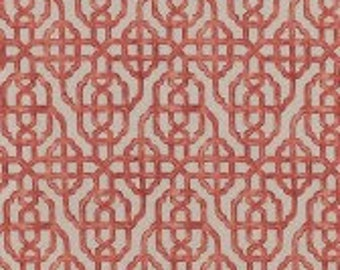 Lacefield Designs Imperial Coral Trellis Custom Pleated Drapery Panels Curtains - set of 2!