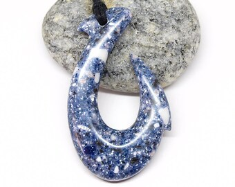Blue fish hook necklace, Maori Hei matau, Statement New Zealand amulet for men or women, Made to Order