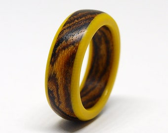 Bocote wood ring with yellow G10, Statement wooden jewelry, Limited edition, Size 4 - 12 US