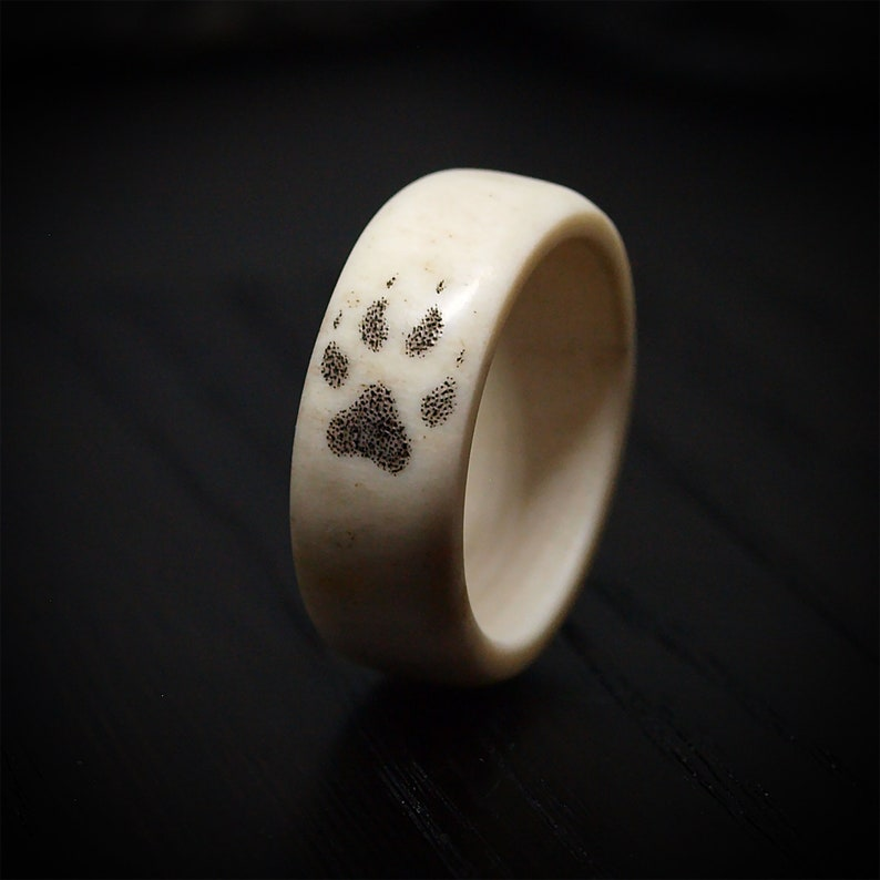 Shed deer antler ring with engraved wolf paw Size 5-12 US