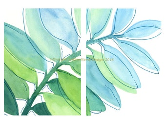 Abstract Watercolor Painting Set Giclee Prints Mint Blue Aqua Green 5X7 Minimalist Leaves Modern Art Home Wall Decor Beach Cottage Chic