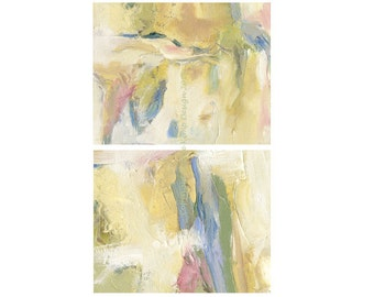 Abstract Painting Set of Two Gift Idea Modern Art Oil Painting Wall Decor Housewarming Beach colors Giclee Prints 8 X 10 Pink Blue White