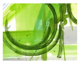 Abstract Modern Art Greenery 2017 Color of the Year Watercolor Lime Green Gray Geometric Print Minimalist Contemporary Home Wall Decor