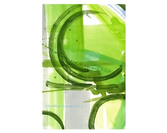 Abstract Modern Art Watercolor Greenery Lime Green Gray Geometric Print 12X18 Minimalist Contemporary Home Wall Decor Men Masculine Art