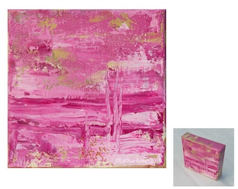 Hot Pink Abstract Modern Art Oil Painting Giclee Print 6 inch pink green home decor gift idea minimalist contemporary art