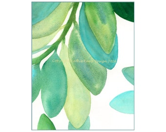 Modern Art Leaves Abstract Oil Painting Giclee Print Aqua Green Teal Yellow 8X10 Minimalist Art Home Wall Decor Beach House Lake House
