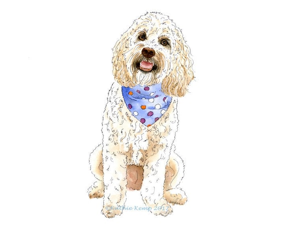 Goldendoodle Dog Pet Portrait Pen and Ink Watercolor Painting Illustration  Gift Idea Pet Memorial Wall Art Decor Giclee Print White Brown
