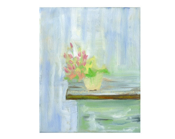 Abstract Minimalist Still Life Modern Art Oil Painting Home Wall Bedroom Decor Giclee Print Pastel Colors Mint Aqua Cream Pink Blue Yellow