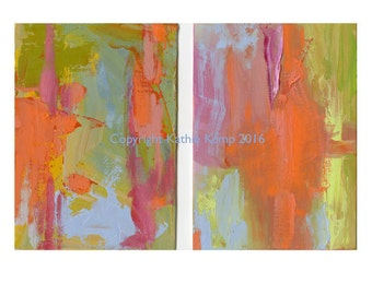 Orange Blue Green Small Abstract Oil Painting Giclee Prints Modern Art Home Wall Decor set of two Bright colors minimalist contemporary