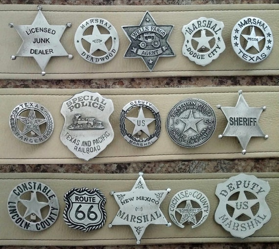 Old West Badge: Large circle cutout star Deputy U.S Police Marshal Lawman