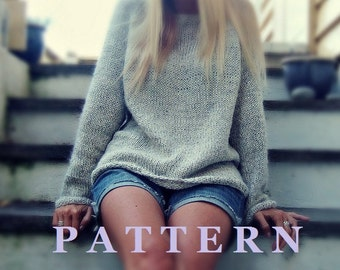 Easy Knit Grey Pearl Pullover PDF Pattern